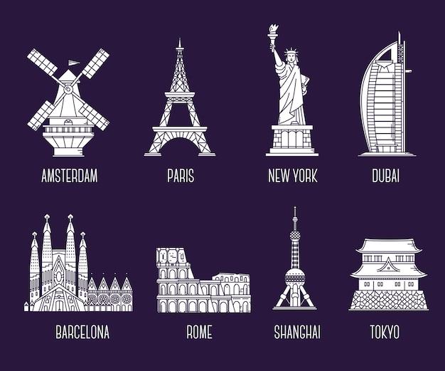 Raccolta di illustrazione dei punti di riferimento nazionali simbolo del paese del mondo