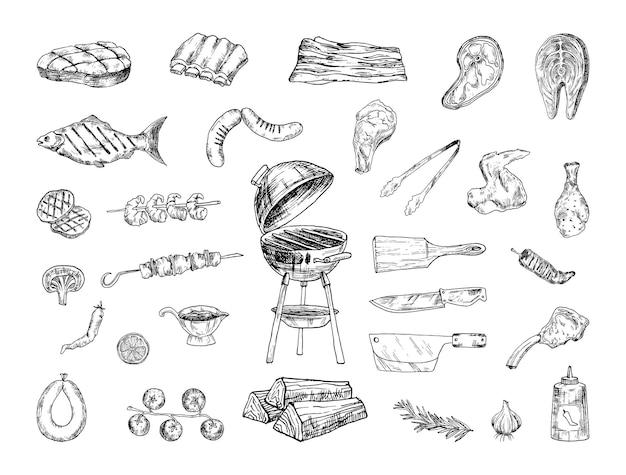 Raccolta di illustrazioni di barbecue in stile schizzo Vettore Premium