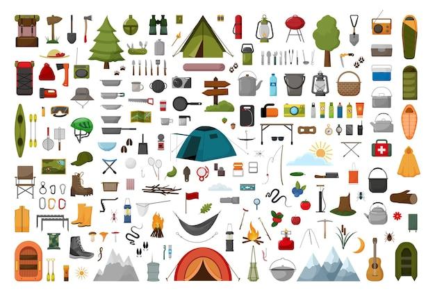 Raccolta di illustrazioni del campeggio.
