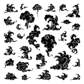 Raccolta di illustrazioni di nuvole di fumo e onde