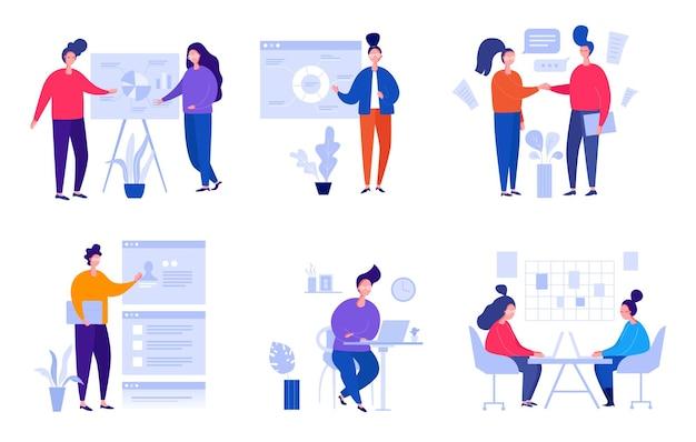 Raccolta di illustrazioni con persone che lavorano in ufficio, fanno una presentazione, negoziano e discutono di problemi aziendali, sviluppano idee. bandiere di vettore del fumetto piatto.