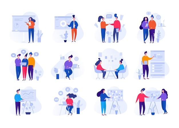 Raccolta di illustrazioni con persone che lavorano in ufficio, facendo una presentazione.