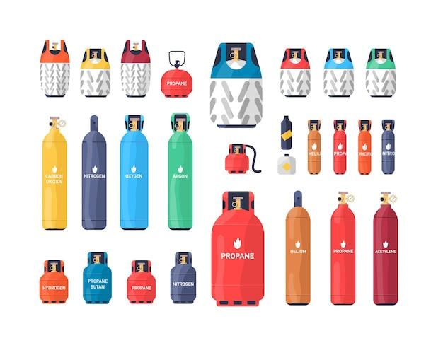 Raccolta di bombole o serbatoi di gas compressi industriali di varie dimensioni e colori isolati su sfondo bianco. fascio di diversi recipienti a pressione. illustrazione vettoriale colorato in stile piatto