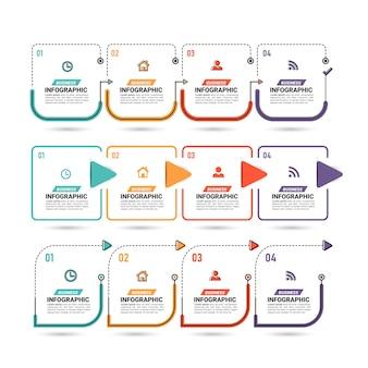 Raccolta di passaggi di infografica su design piatto