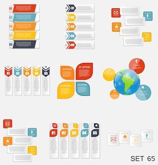 Raccolta di modelli di infografica per illustrazione vettoriale di affari. eps10