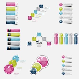 Raccolta di modelli di infografica per illustrazione vettoriale aziendale