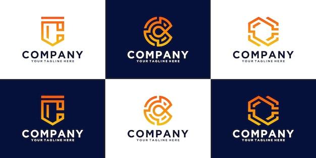 Raccolta di loghi della lettera c iniziale, per affari, finanza e tecnologia