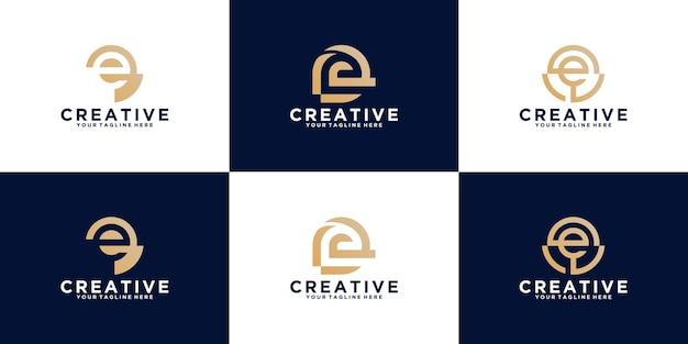 Una raccolta di lettere iniziali e ispirazione per il design del logo per il business