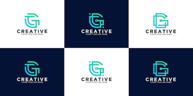 Raccolta di loghi di design della lettera g iniziale in stile linea, per aziende commerciali e tecnologiche
