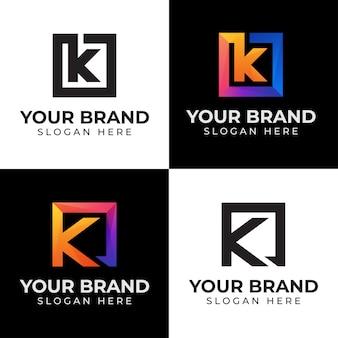 Lettera iniziale di raccolta k con logo quadrato con versioni nere
