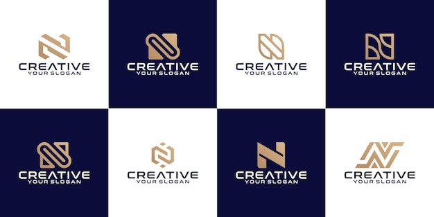 Raccolta di modello di progettazione di logo monogramma lettera n iniziale