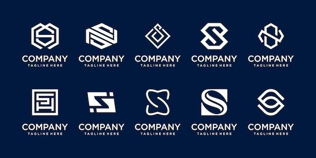 Collezione lettera iniziale s ss logo modello icone per il business della tecnologia sportiva della moda