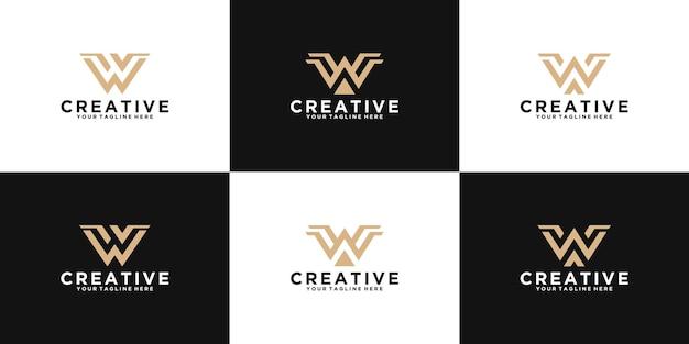 Una raccolta di ispirazione per il design del logo della lettera iniziale w per la moda, il business e la tecnologia Vettore Premium