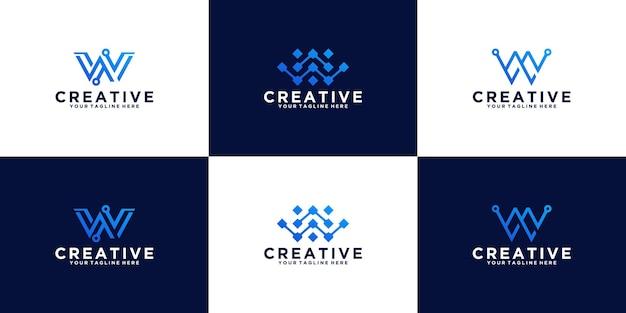 Raccolta di icone del modello di logo della lettera iniziale w per il business della tecnologia digitale
