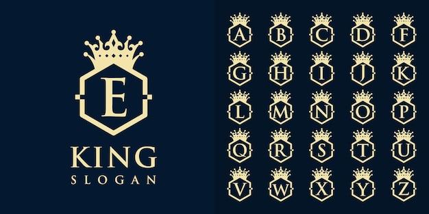 Raccolta di lettere iniziali dalla a alla z con un design del logo con cornice a corona