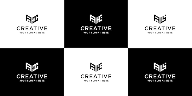 Raccolta di modello di progettazione del logo di iniziali