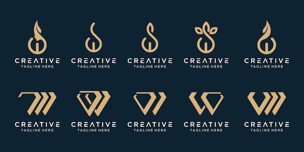 Modello di logo di raccolta iniziali w. icone per il business della moda, semplice.