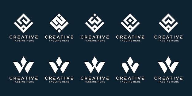 Modello di logo w di iniziali della raccolta.