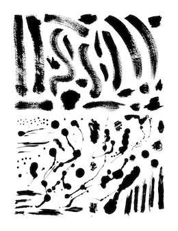 Raccolta di pennellate di inchiostro e splatter. insieme delle spazzole di lerciume di vettore. texture sporche di banner, scatole, cornici ed elementi di design. oggetti dipinti isolati su sfondo bianco
