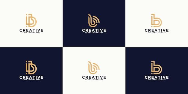Una collezione di iniziali di design del logo ispiratrici monogramma lettera b, monogramma moderno e minimalista