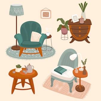 Collezione di interni con eleganti mobili comodi e decorazioni per la casa