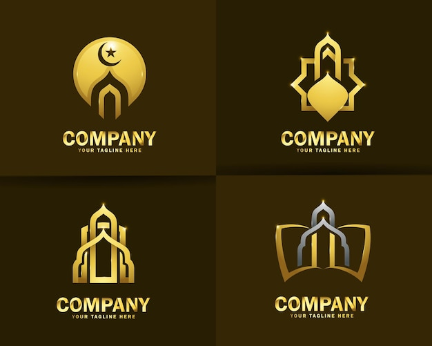 Collezione di modelli di design del logo della moschea islamica