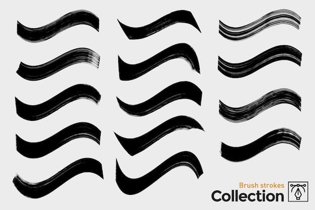 Raccolta di pennellate isolate. pennellate dipinte a mano nera. curve del grunge dell'inchiostro.
