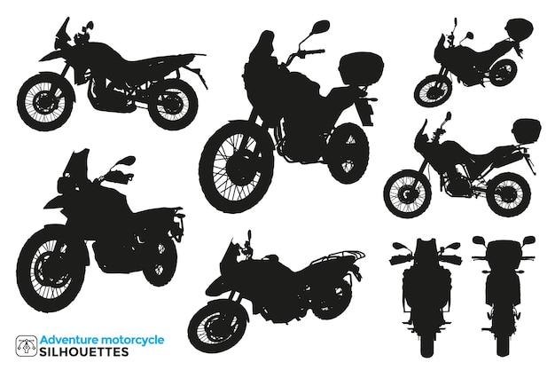 Raccolta di sagome isolate di motociclette d'avventura in diversi punti di vista.
