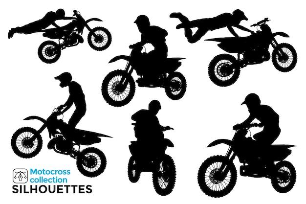 Raccolta di sagome isolate di motociclisti che guidano motocross estremo