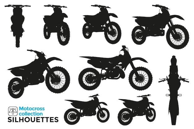 Raccolta di sagome isolate di motociclette da motocross in diversi punti di vista