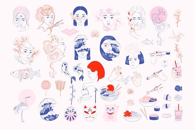 Collezione di oggetti giapponesi ritratto di donna asiatica, pesce koi, drago, sakura, cibo giapponese, sushi, elementi folk, gru, onda del mare.
