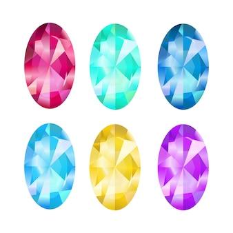 Collezione di gioielli. gemma smeraldo, sardi, zaffiri, topazi. icona del gioco su uno sfondo bianco.