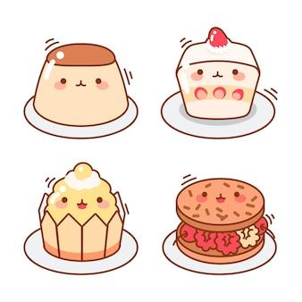 Collezione di dessert giapponesi kawaii