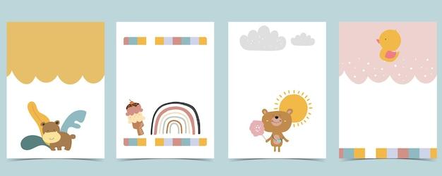 Collezione di cartoline per bambini con orso, arcobaleno, sole. illustrazione vettoriale modificabile per sito web, invito, cartolina e adesivo