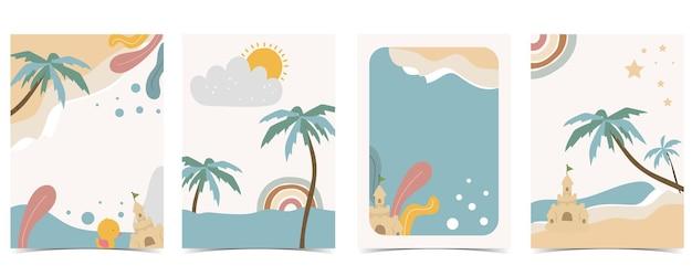Collezione di cartoline per bambini con il sole del mare di sabbia