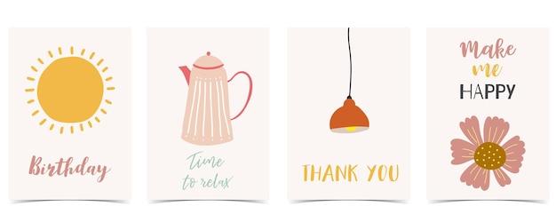 Collezione di cartoline per bambini con sole, fiori, lampada. illustrazione vettoriale modificabile per sito web, invito, cartolina e adesivo