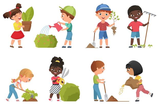 Raccolta di giardinaggio e piantagione di bambini
