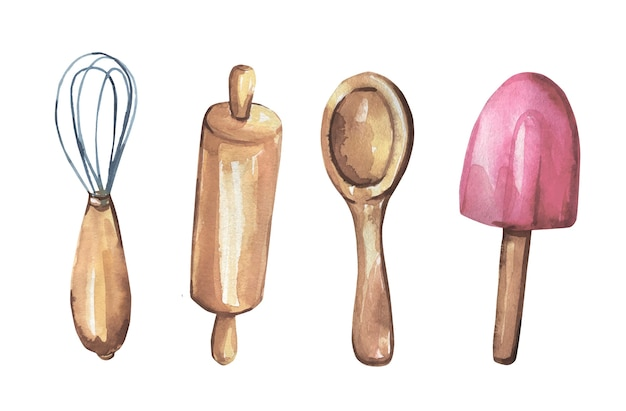Collezione di oggetti da cucina