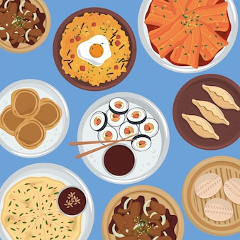 Collezione di piatti di cucina coreana
