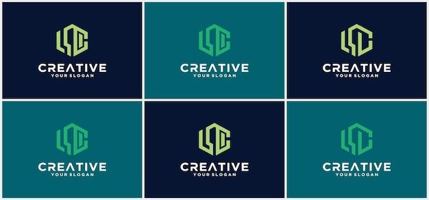 Raccolta di lettere lc linee astratte design del modello logo minimalista lettere astratte lc. simbolo di alfabeto grafico per identità aziendale aziendale.