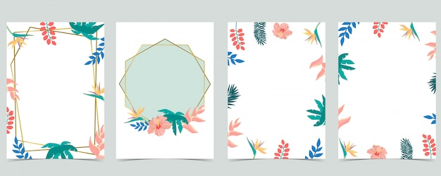 La raccolta del fondo della foglia ha messo con il fiore, il cocco, hibicus. illustrazione per invito, cartolina e logo. elemento modificabile