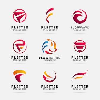 Collezione di design del logo della lettera f.