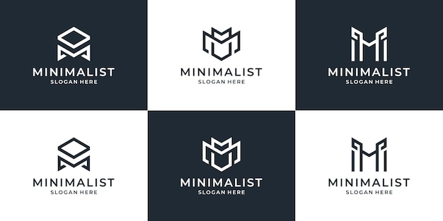Raccolta di modello di progettazione di logo di linea di lettera m. simbolo creativo minimale monogramma logotipo business premium elegante universale.