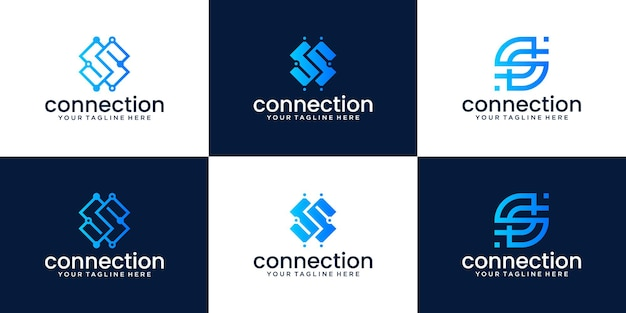 Raccolta di disegni di logo monogramma lettera s per aziende, tecnologia e consulenza