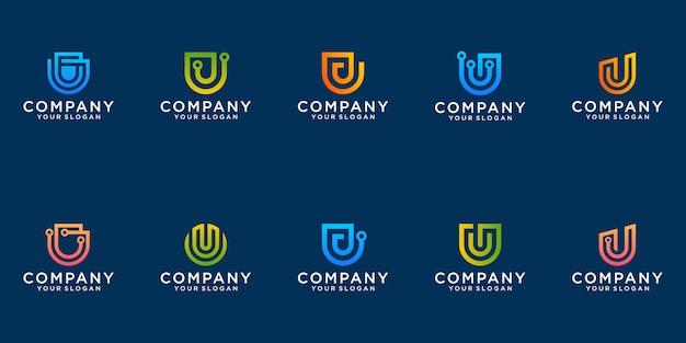 Una raccolta di disegni del logo della lettera u in un appartamento minimalista moderno di tecnologia astratta per le imprese