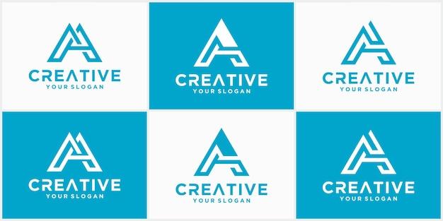 Una raccolta di disegni del logo della linea vettoriale della lettera a. simbolo dell'icona logo creativo minimalista. un logo in colore blu
