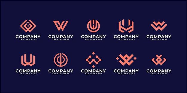 Modello di logo di ispirazione lettera di raccolta w