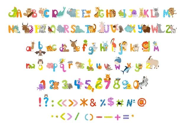 Raccolta di lettere numeri e segni di punteggiatura con animali