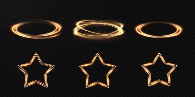 Collezione di cornici geometriche leggere. set di cornici festive d'oro.