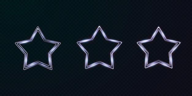 Collezione di cornici al neon di stelle luminose